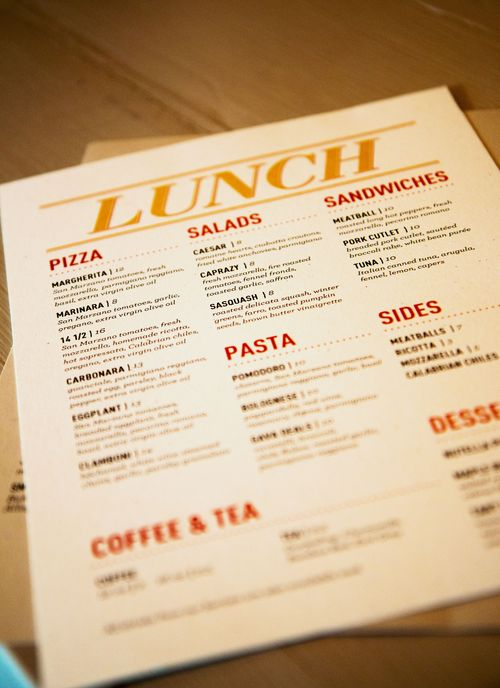 Lunch menu monk room