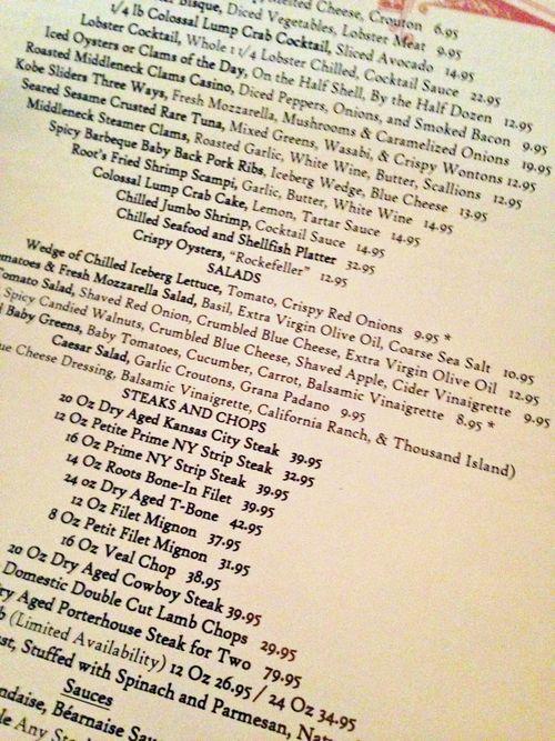 Roots menu
