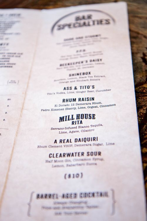 Mill house brewery cocktail menu