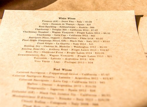Craft house wine list