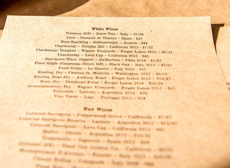 Craft house wine list