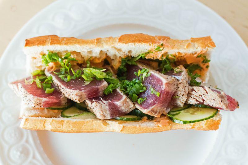 Rare spicy tuna sandwich