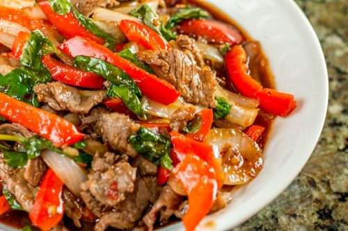 Spicy Thai Basil Beef Recipe — Dishmaps
