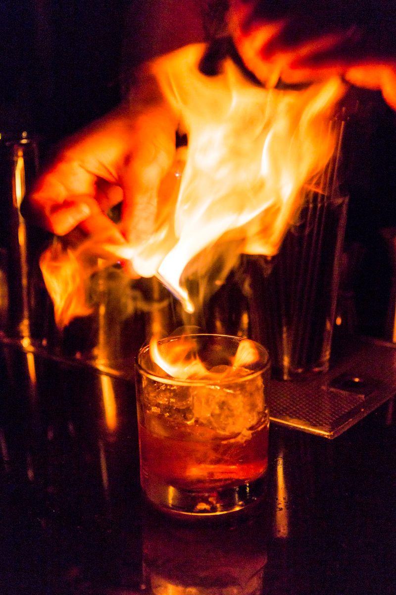 Franklin bar cocktail flamed orange peel